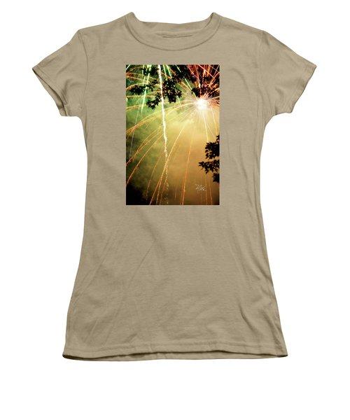 Women's T-Shirt (Junior Cut) featuring the photograph Chetola Yellow Fireworks by Meta Gatschenberger