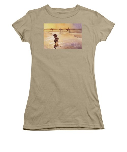 Women's T-Shirt (Junior Cut) featuring the painting Child On Beach- Ocracoke Island, Nc by Ryan Fox