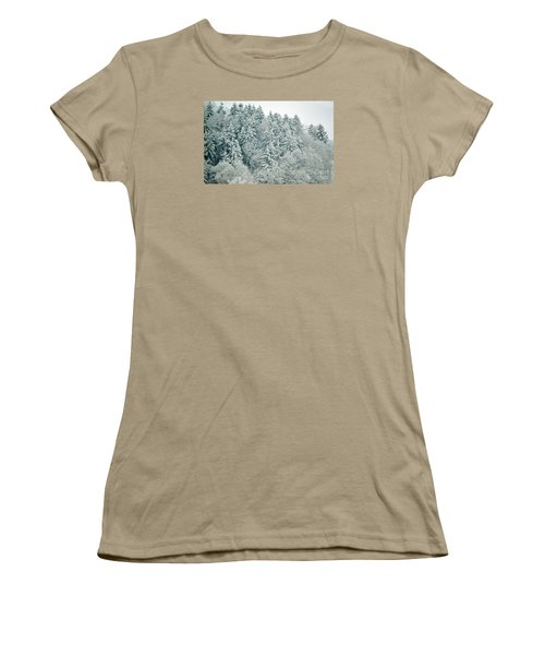 Women's T-Shirt (Junior Cut) featuring the photograph Christmas Forest - Winter In Switzerland by Susanne Van Hulst