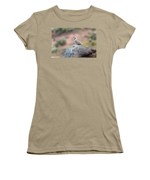 Women's T-Shirt (Junior Cut) featuring the photograph Chukar Partridge 2 by Leland D Howard