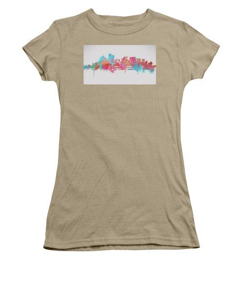 Colorful Sydney Skyline Silhouette Women's T-Shirt (Junior Cut) by Dan Sproul