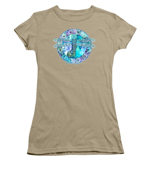 Women's T-Shirt (Junior Cut) featuring the mixed media Cool Celtic Dragonfly by Kristen Fox