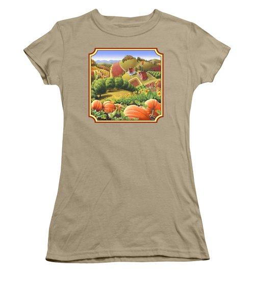 Country Landscape - Appalachian Pumpkin Patch - Country Farm Life - Square Format Women's T-Shirt (Junior Cut) by Walt Curlee