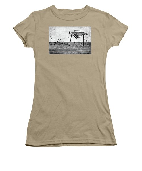 Women's T-Shirt (Junior Cut) featuring the photograph Death Of A Friend - Frisco Pier Outer Banks Bw by Dan Carmichael