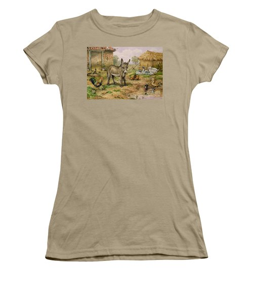 Donkey And Farmyard Fowl  Women's T-Shirt (Junior Cut) by Carl Donner