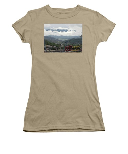 Women's T-Shirt (Junior Cut) featuring the photograph Down The Valley At Snowmass by Jerry Battle