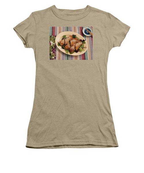 Women's T-Shirt (Junior Cut) featuring the digital art Egg Rolls And Sesame by Jana Russon