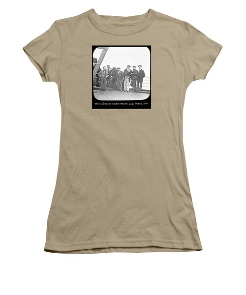 Women's T-Shirt (Junior Cut) featuring the photograph Emigrants Passangers And Crew Members On Deck Of Ss Pretori by A Gurmankin