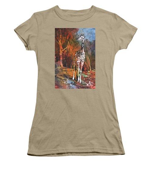 Women's T-Shirt (Junior Cut) featuring the painting Giraffe Batik II by Ryan Fox