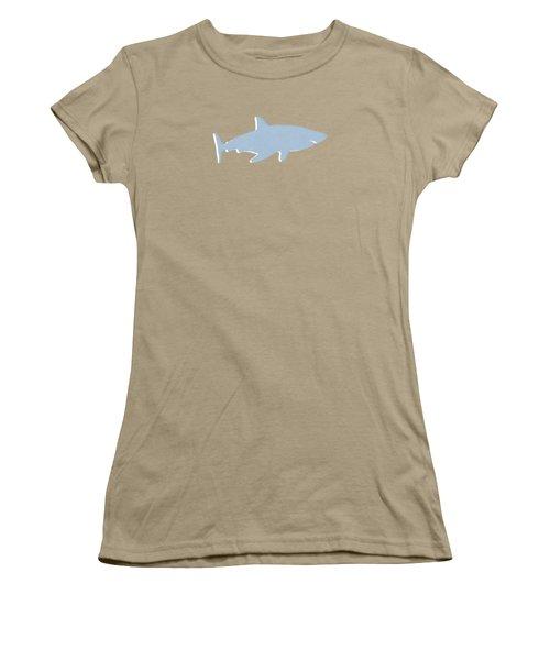 Grey And Yellow Shark Women's T-Shirt (Junior Cut) by Linda Woods