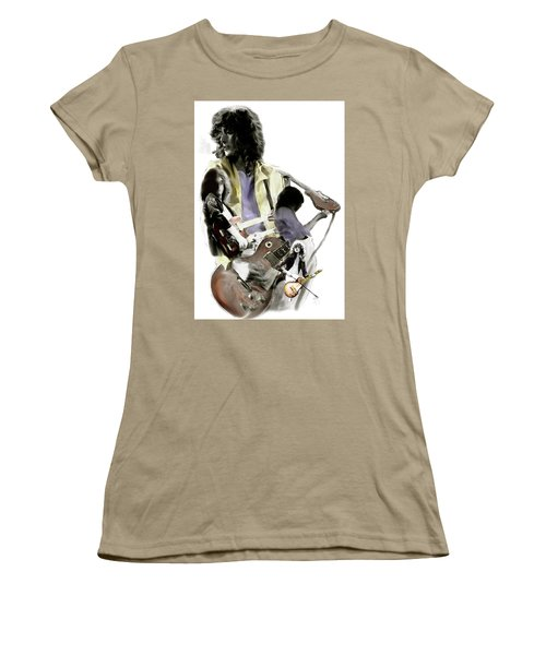 Hammer Of The Gods   Jimmy Page Women's T-Shirt (Junior Cut) by Iconic Images Art Gallery David Pucciarelli