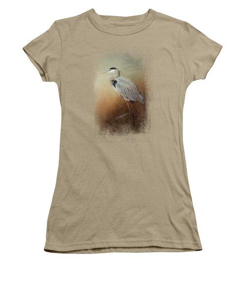 Heron At The Inlet Women's T-Shirt (Junior Cut) by Jai Johnson