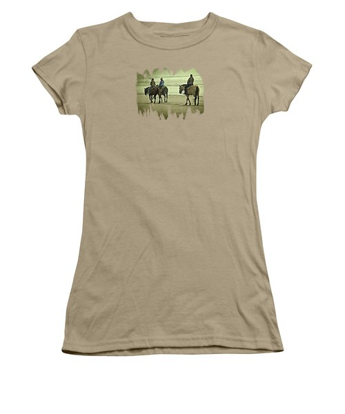 Women's T-Shirt (Junior Cut) featuring the photograph Horseback Riding On The Beach by Thom Zehrfeld