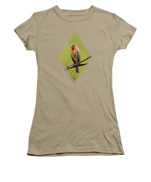 House Finch In The Rain Women's T-Shirt (Junior Cut) by Christina Rollo