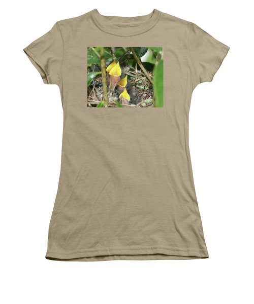 Women's T-Shirt (Junior Cut) featuring the photograph Hungry Baby Birds by Jerry Battle
