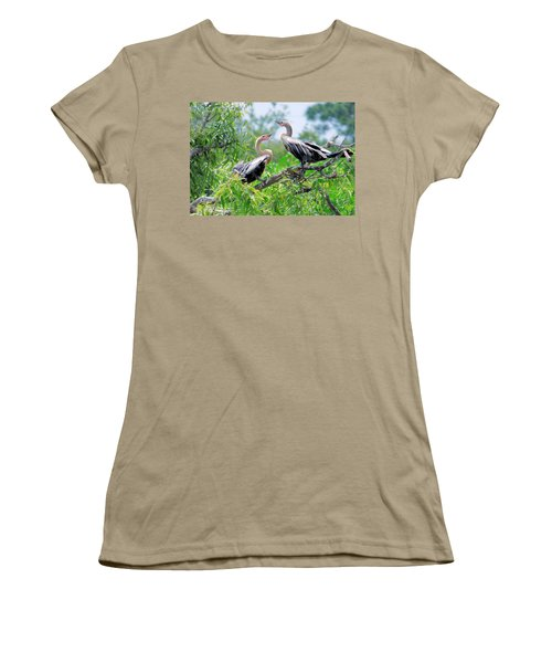 Women's T-Shirt (Junior Cut) featuring the photograph Interacting Young Anhingas by Rosalie Scanlon