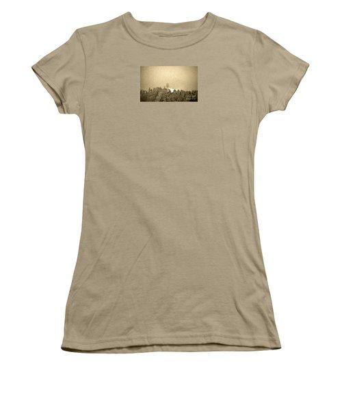 Women's T-Shirt (Junior Cut) featuring the photograph Let It Snow - Winter In Switzerland by Susanne Van Hulst