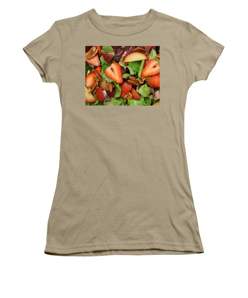 Women's T-Shirt (Junior Cut) featuring the digital art Lettuce Strawberry Plum Salad by Jana Russon