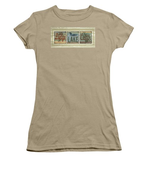 Lodge Lake Cabin Sign Women's T-Shirt (Junior Cut) by Joe Low