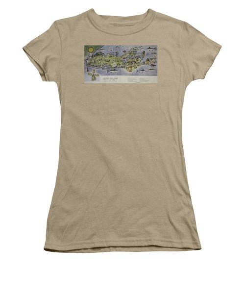 Women's T-Shirt (Junior Cut) featuring the photograph Long Island An Interpretive Cartograph by Duncan Pearson