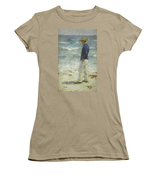 Women's T-Shirt (Junior Cut) featuring the painting Looking Out To Sea by Henry Scott Tuke