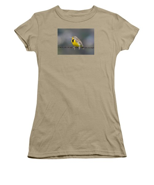 Meadowlark On Barbed Wire Women's T-Shirt (Junior Cut) by Marc Crumpler