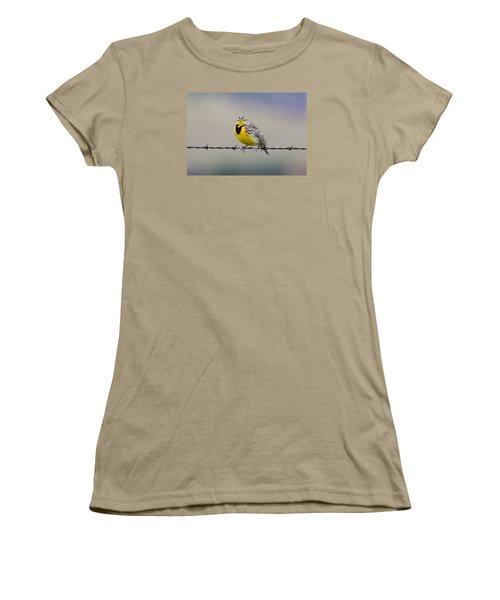 Meadowlark Stare Women's T-Shirt (Junior Cut) by Marc Crumpler