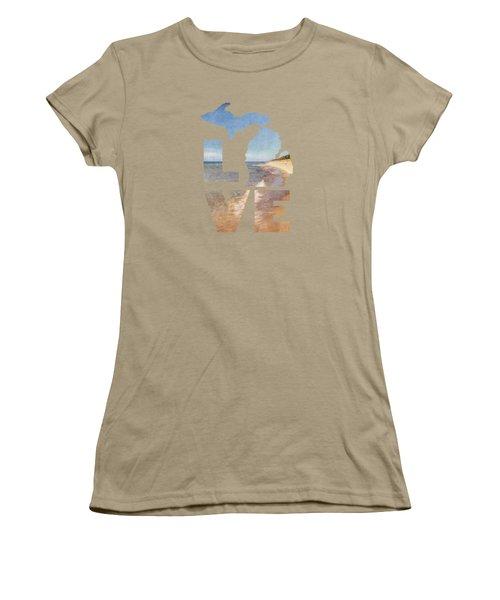 Michigan Love Women's T-Shirt (Junior Cut) by Emily Kay