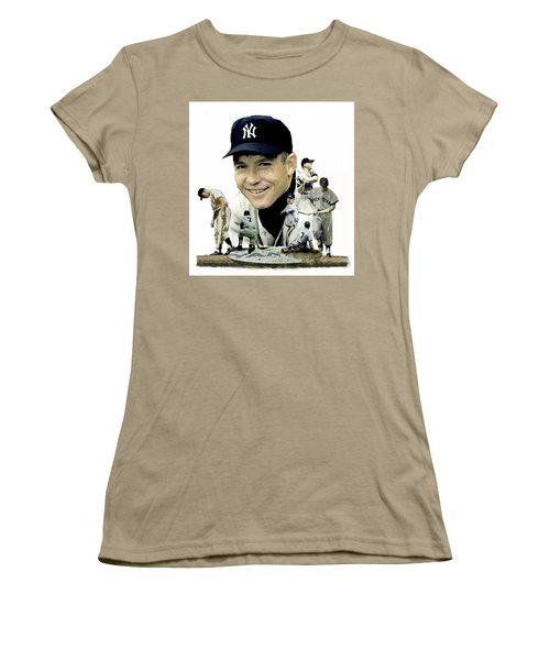 Mickey Mantle Legacy, II  Women's T-Shirt (Junior Cut) by Iconic Images Art Gallery David Pucciarelli