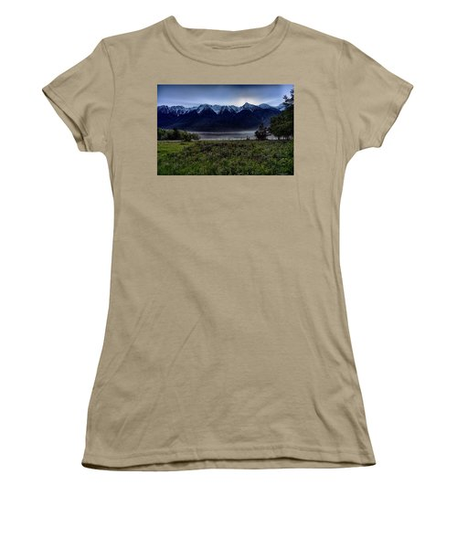 Women's T-Shirt (Junior Cut) featuring the photograph Misty Mountain Morning Meadow  by Darcy Michaelchuk