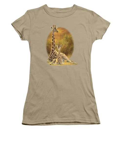 Mother And Son Women's T-Shirt (Junior Cut) by Lucie Bilodeau