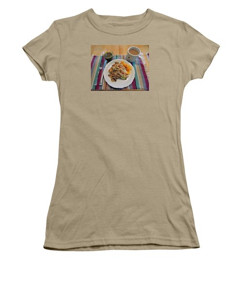 Women's T-Shirt (Junior Cut) featuring the digital art Mushroom Gravy Over Breakfast Quiche  by Jana Russon