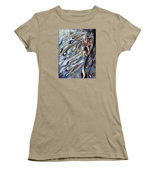 Women's T-Shirt (Junior Cut) featuring the painting Narada Muni by Harsh Malik
