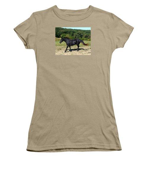 Women's T-Shirt (Junior Cut) featuring the digital art Old Black Horse Running by Jana Russon