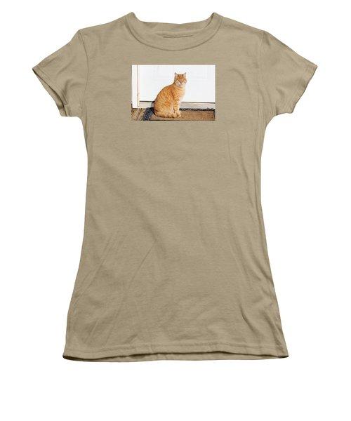Women's T-Shirt (Junior Cut) featuring the digital art Orange Tabby Cat by Jana Russon