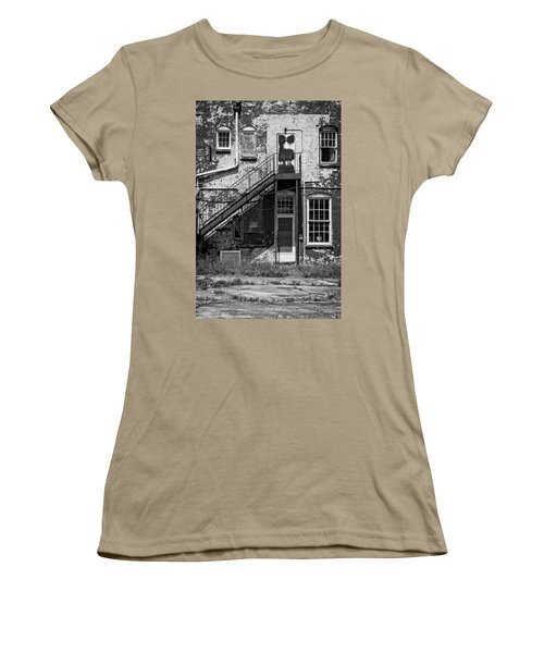 Women's T-Shirt (Junior Cut) featuring the photograph Over Under The Stairs - Bw by Christopher Holmes
