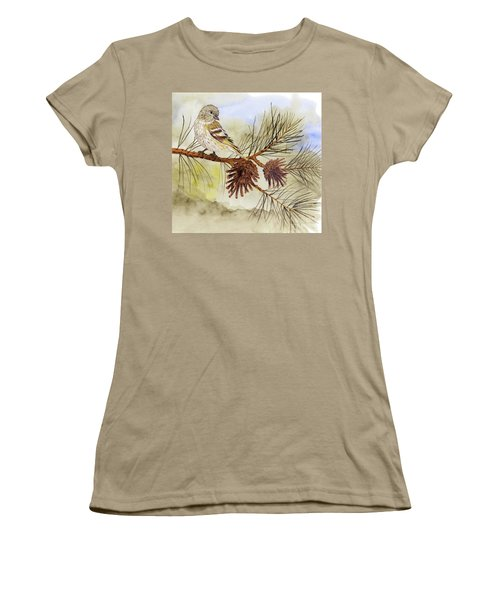 Women's T-Shirt (Junior Cut) featuring the painting Pine Siskin Among The Pinecones by Thom Glace