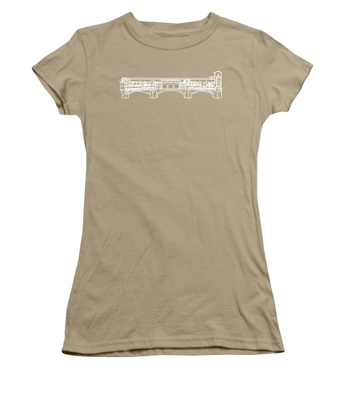 Ponte Vecchio Florence Tee White Women's T-Shirt (Junior Cut) by Edward Fielding