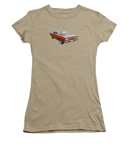 Red 1968 Plymouth Roadrunner Muscle Car Women's T-Shirt (Junior Cut) by Keith Webber Jr