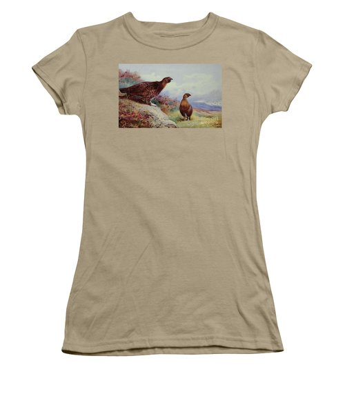 Red Grouse On The Moor, 1917 Women's T-Shirt (Junior Cut) by Archibald Thorburn
