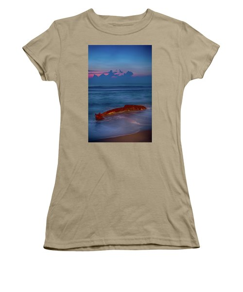 Women's T-Shirt (Junior Cut) featuring the photograph Shipwreck On The Outer Banks The End by Dan Carmichael