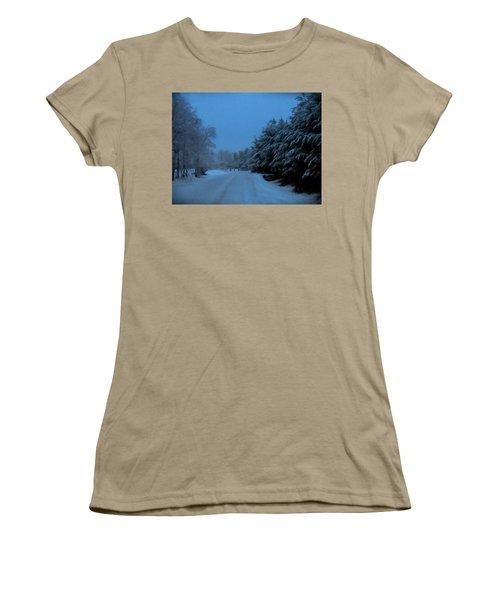 Women's T-Shirt (Junior Cut) featuring the photograph Silent Winter Night  by David Dehner