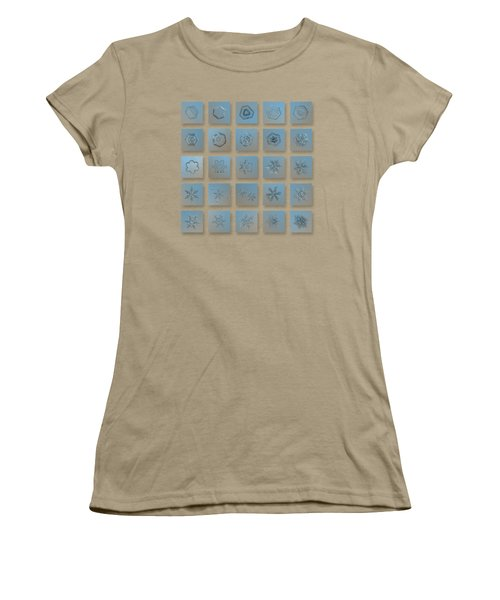 Women's T-Shirt (Junior Cut) featuring the photograph Snowflake Collage - Season 2013 Bright Crystals by Alexey Kljatov