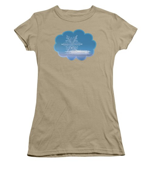 Women's T-Shirt (Junior Cut) featuring the photograph Snowflake Photo - Cloud Number Nine by Alexey Kljatov