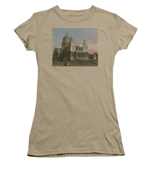 St. Paul's Cathedral Women's T-Shirt (Junior Cut) by Giovanni Antonio Canaletto