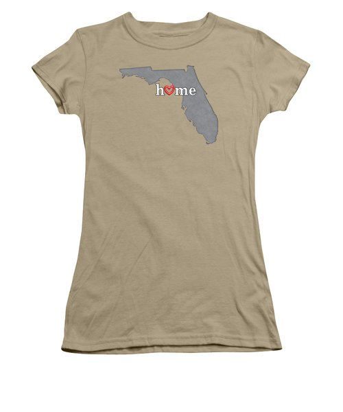 State Map Outline Florida With Heart In Home Women's T-Shirt (Junior Cut) by Elaine Plesser