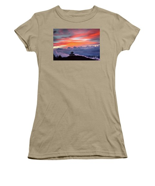 Women's T-Shirt (Junior Cut) featuring the photograph Sunrise Over The Smoky's II by Douglas Stucky