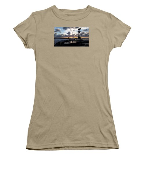 Women's T-Shirt (Junior Cut) featuring the photograph Sunrise Splash On The Jetty by Robert Banach
