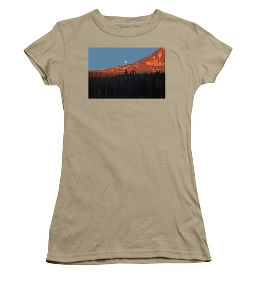 Women's T-Shirt (Junior Cut) featuring the photograph Sunset And Sunrise At Mt Adams by Jack Moskovita