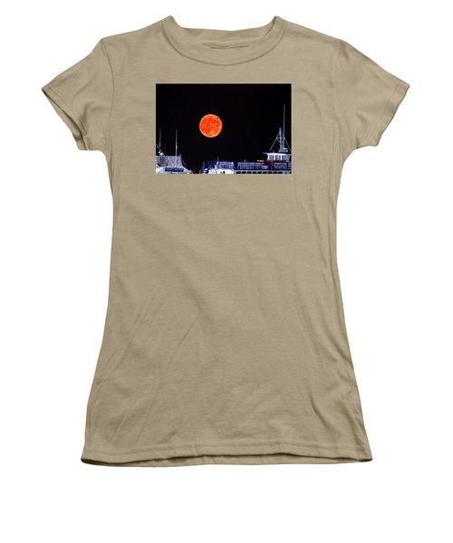 Women's T-Shirt (Junior Cut) featuring the photograph Super Moon Over Crazy Sister Marina by Bill Barber